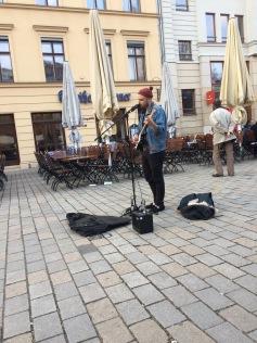 Playing at Hackecher Markt in Berlin
