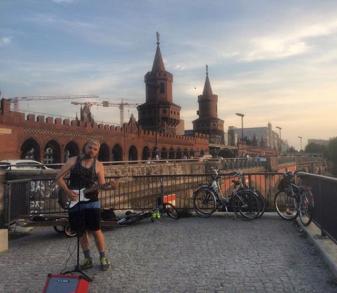 Busking by the Oberbaumbrücke, Berlin