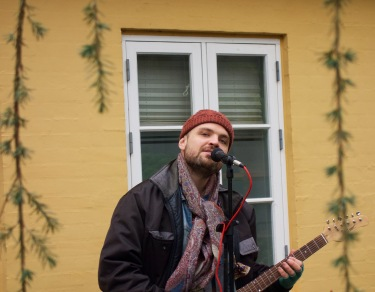 Playing at a store opening in Middelfart,DK